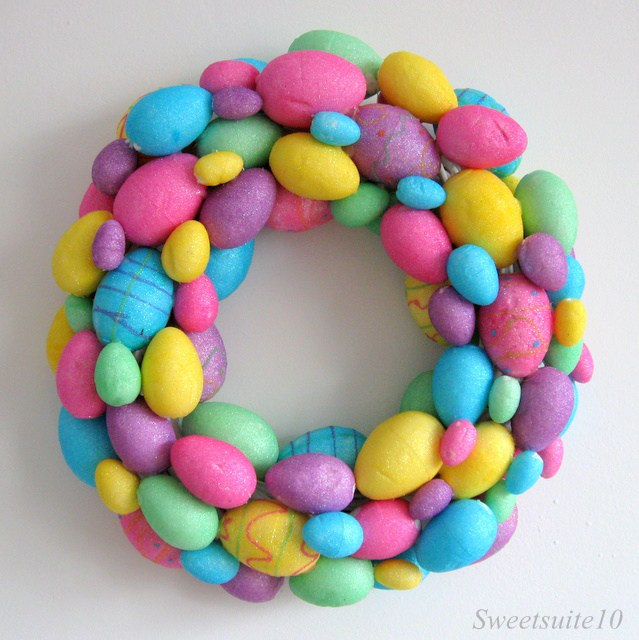 Dollar store Easter Egg Wreath