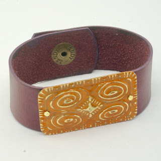 Maroon Leather Bracelet by BayMoonDesign