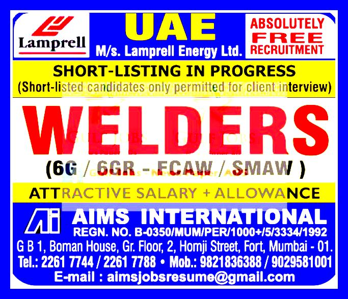 Welder Required For Oil & Gas Company UAE ( LAMPRELL) - GULF