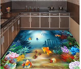 dekorasi akuarium di lantai dapur