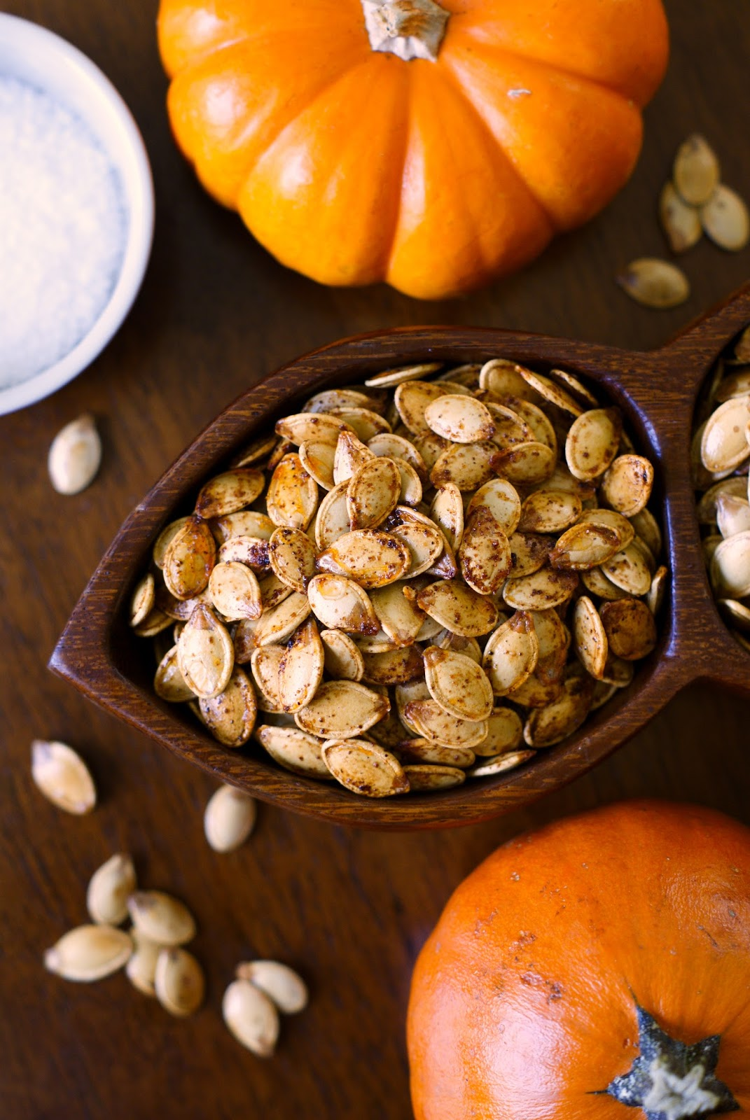 Roasted Pumpkin Seeds is a fall tradition!  When you carve your pumpkins, roast the seeds in the oven for a festive, crispy, delicious snack.
