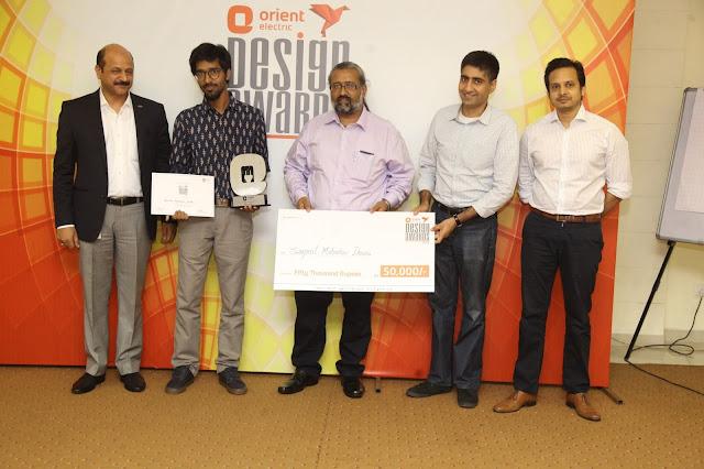 Picture 1: 'Best Design' Category (L-R) Rakesh Khanna, CEO, Orient Electric;  Upendra Shenoy, NID Ahmedabad (Winner); Naveen Rampal renowned design consultant; Ankit Kumar Gupta, NIFT Gandhinagar (Winner); Amit Krishn Gulati founder Incubis consultants; Bikram Mittra, MD Trampoline Design