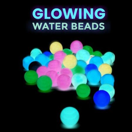 FUN KID PROJECT:  Make rainbow water beads that GLOW!  SO COOL!! #playrecipesforkids #playrecipes #playrecipesforchildren #waterbeads #waterbeadsideas #waterbeadssensory #glowinthedarkactivities #glowinthedarkcrafts