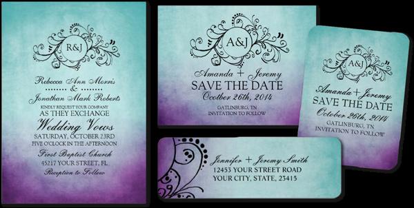 Rustic Teal Purple Bohemian Wedding