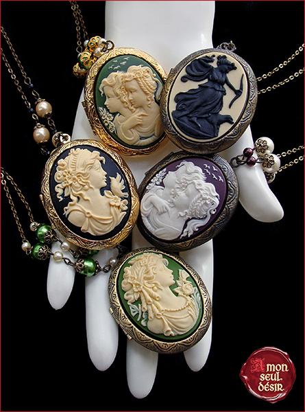 collier médaillon photo camée victorien romantique secret