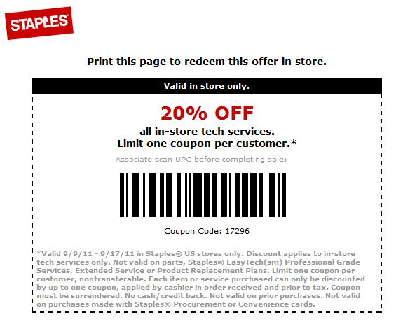 staples coupon in store