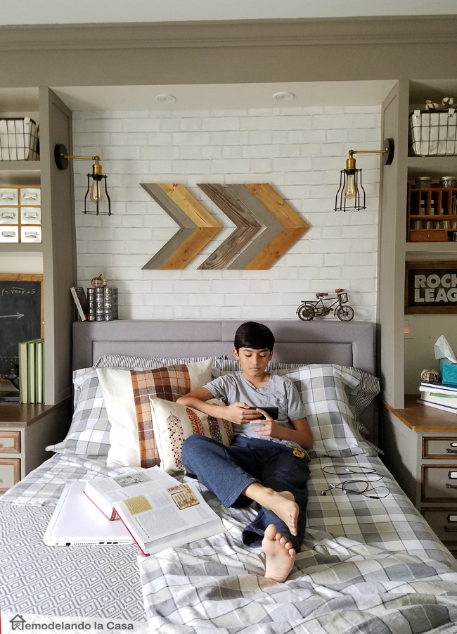 boy in bed, bedroom, books, chalkboard, plaid sheet set, rocket league, arrow wall art, bicycle art, desk