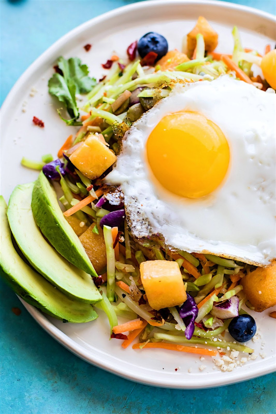 Nourishing Paleo Warm Breakfast Salad A hearty breakfast is best way to start the day! Create healthy swaps by replacing hash browns or white potatoes with broccoli slaw, squash, and even blueberries!