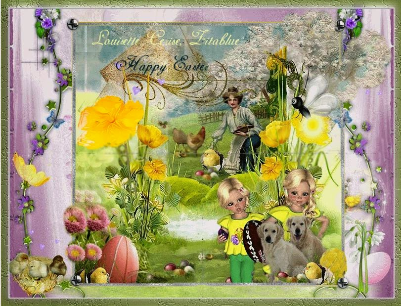 easter, pascao, pasqua, pasen, psp, scrap,corel,paques, ostern,louisette blogs, golden retriever,