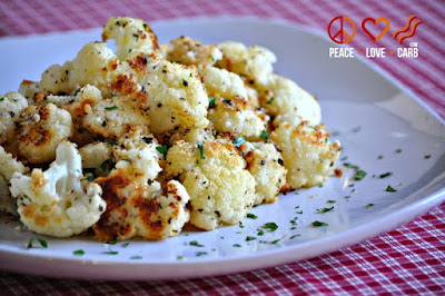 Garlic Parmesan Roasted Cauliflower from Peace, Love, and Love Carb included in Roasted Cauliflower Recipes featured for Low-Carb Recipe Love on Fridays found on KalynsKitchen.com