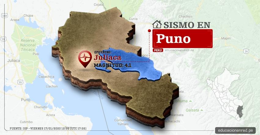 Temblor en Puno de Magnitud 4.1 (Hoy Viernes 17 Enero 2020) Sismo - Epicentro - Juliaca - San Román - IGP - www.igp.gob.pe