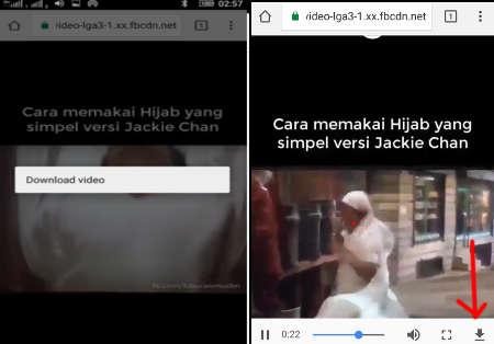 hasil dari download video facebook di hp
