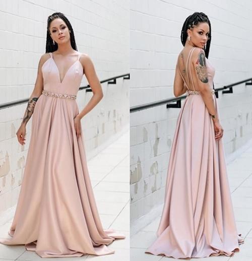 vestido longo rose madrinha