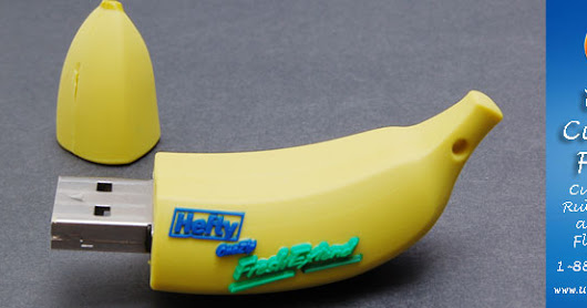 Banana, basketball, Beatles and more all have custom shaped flash drives.
