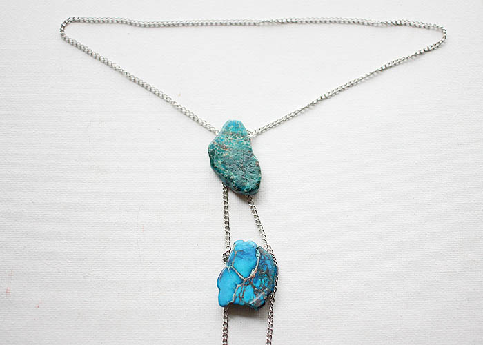 DIY Jasper Stone Lariat Necklace