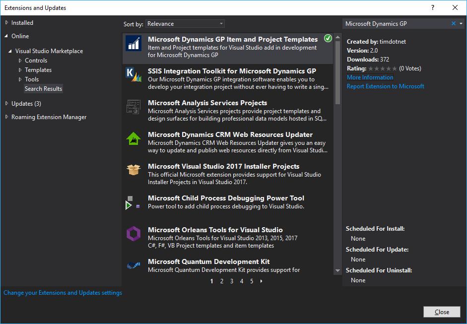 Installing Visual Studio Tools for Microsoft Dynamics GP project ...