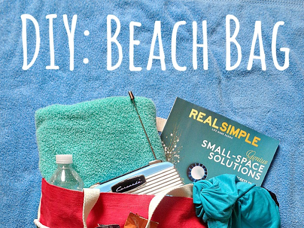 DIY Beach Bag Sewing Pattern on Seams and Scissors