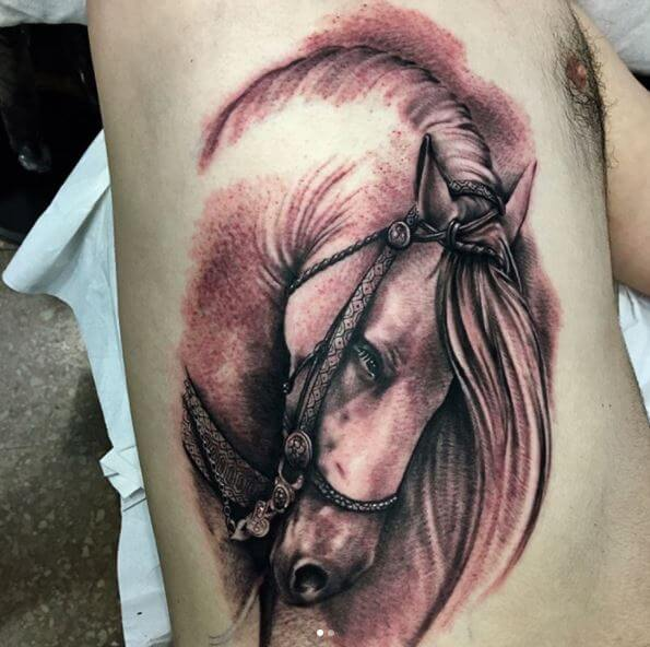 5d7bfb639 Instead of trying a running horse or full horse tattoo you can opt for horse  head tattoo as well.
