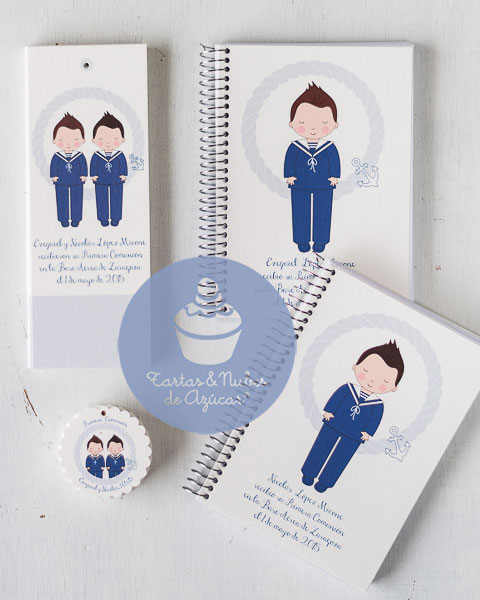 Marcapáginas, libretas y etiquetas personalizados para hermanos