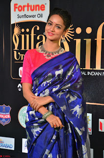 Shanvi Looks Super Cute in Pink Backless Choli Blue Saree at IIFA Utsavam Awards 2017 22.JPG