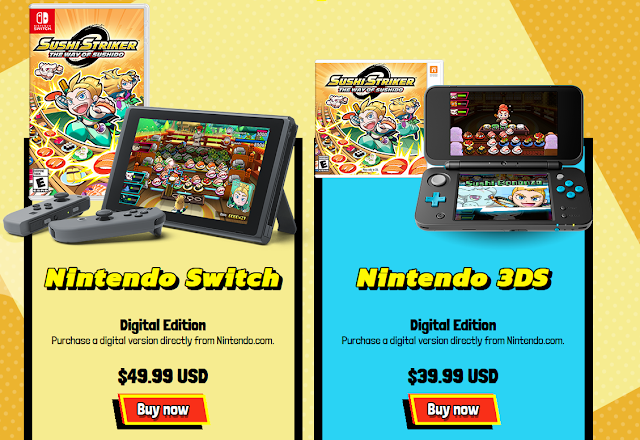 Sushi Striker The Way of Sushido pricing Nintendo Switch 3DS difference