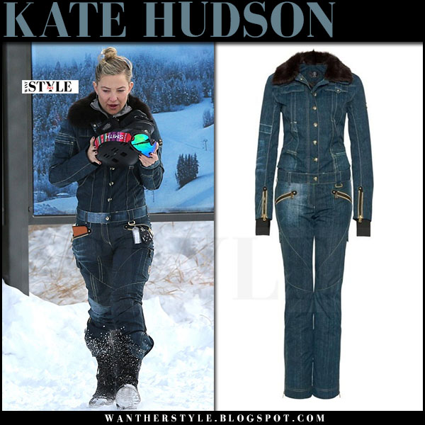Kate Hudson in blue denim ski suit bogner madis what she wore