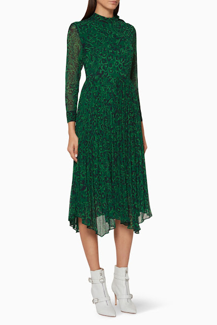 Green Jungle Cat Pleated Dress 949 AED