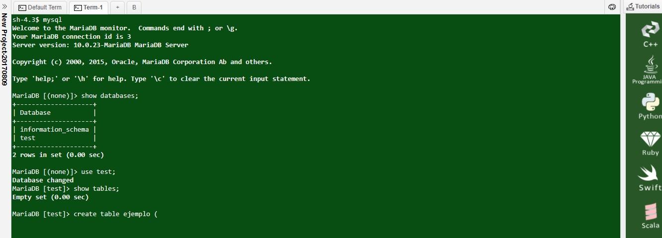 Mysql terminal online