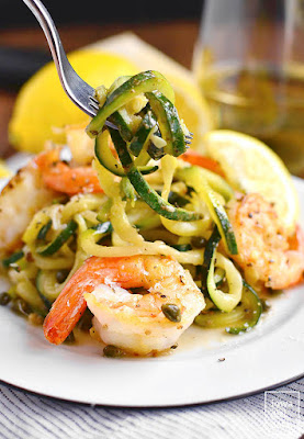 Skinny Shrimp Picatta with Zoodles from Iowa Girl Eats - featured for Low-Carb Recipe Love on Fridays found on KalynsKitchen.com