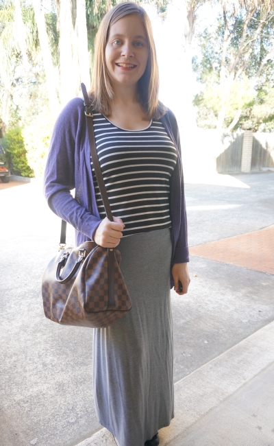 Away From Blue | Autumn Maxi Skirt Postpartum Outfit stripes purple cardi LV bag