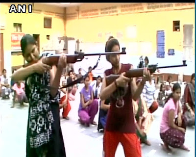 Aryaveer Dal, the youth wing of the Arya Samaj, had organised self defence camp in Aligarh to help for girls fight off 'love jihadis'.   A video released by ANI show a group of girls led by male instructors and training in swords and guns.   In the caption of the video the news agency noted that the girls were being trained to fight 'love jihadis' as the Muslim men who marry Hindu girls are called by the Hindutva groups.