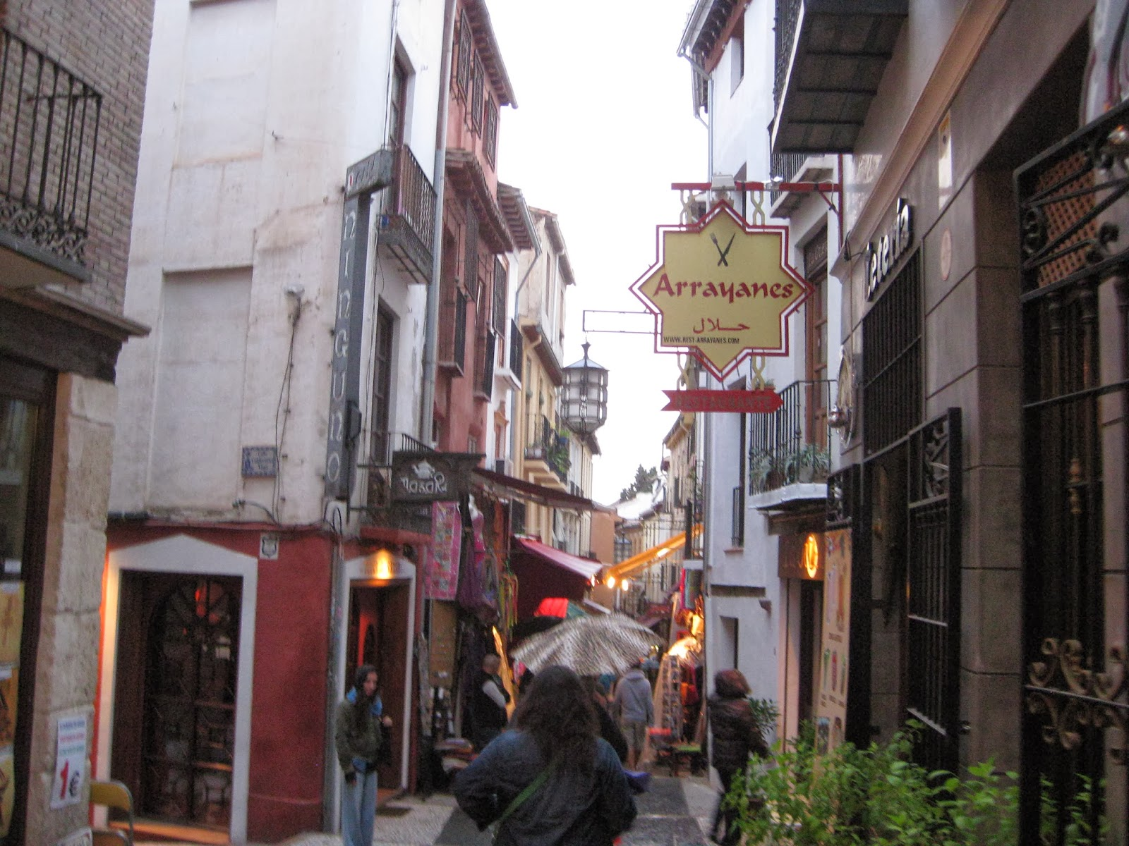 Granada - The Albayzin - very narrow streets lined with shops, restaurants, and tea shops