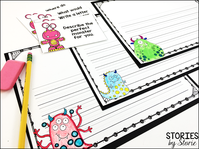 After reading I Need My Monster, students can choose one of the writing prompt cards and pair it with these monster-themed writing pages.