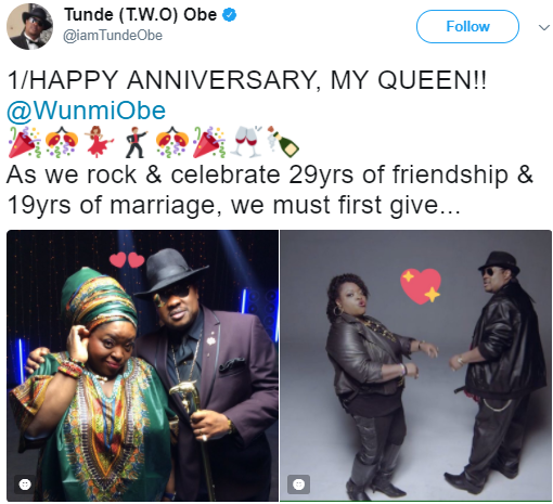 Tunde and Wunmi Obe celebrate 29 years of friendship and 19 years of marriage