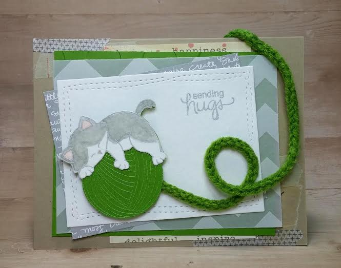 Sending Hugs Kitty card by Guest Designer Naki Rager | Newton Unwinds stamp set by Newton's Nook Designs #newtonsnook
