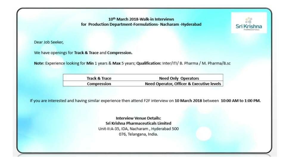 Sri Krishna Pharmaceutical LTD have walk-in at Heydrabad on 10th ...