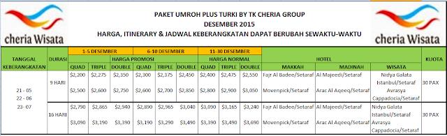 info pendaftaran paket umroh plus turki BY TK Jakarta bisa menghubungi cuctomer service Cheria Wisata