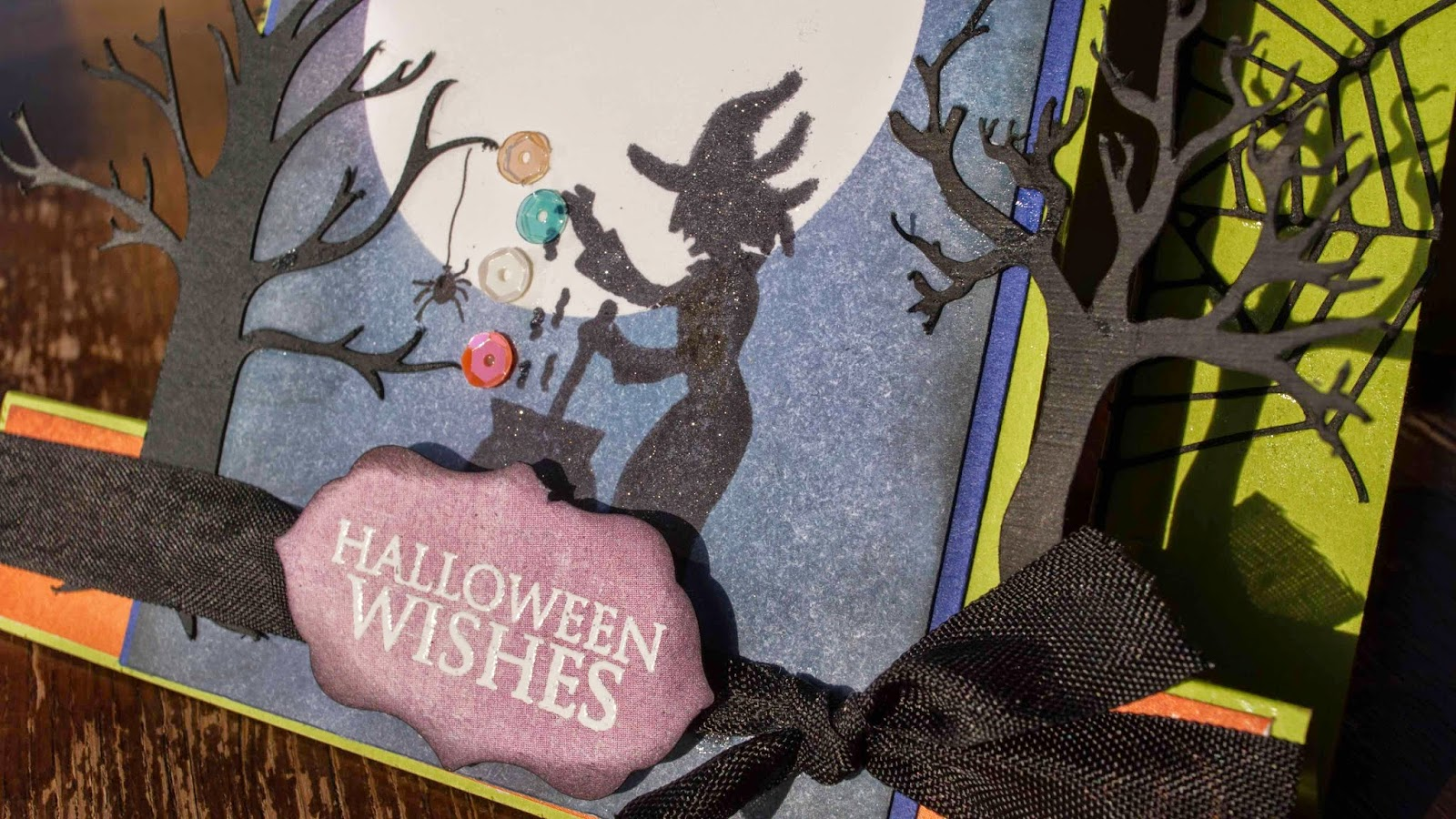 center stair step card halloween witch detail