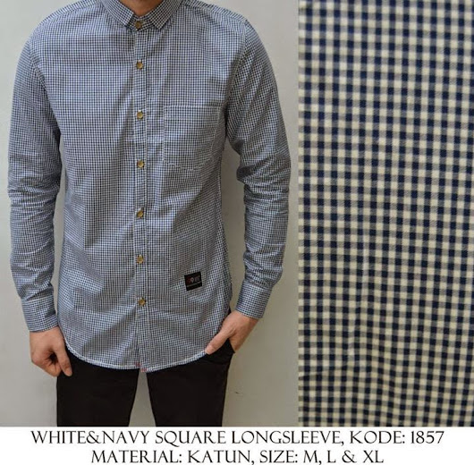 WHITE & NAVY SQUARE LONG SLEEVE KODE : 1857 IDR 120.000 | Welcome