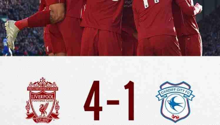 Hasil Liverpool vs Cardiff City Skor Akhir 4-1