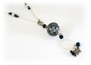 Black & White Polymer Clay Lariat Necklace created with my kaleidoscope cane