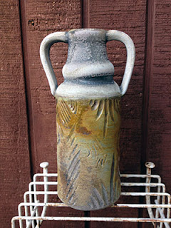 Carved Wood Fired Ceramic Bottle by Lori Buff