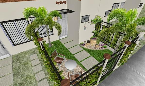 Dise o de un jard n peque o frente de una casa t pica de - Jardines exteriores de casas modernas ...