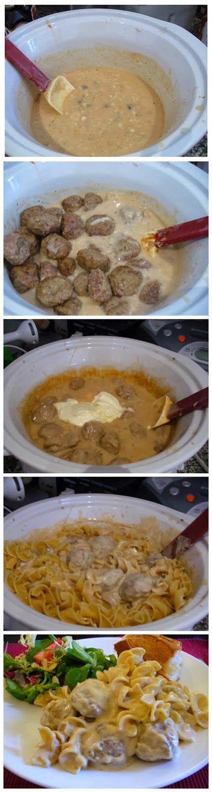 Meatball Stroganoff in a crockpot - simplexfood