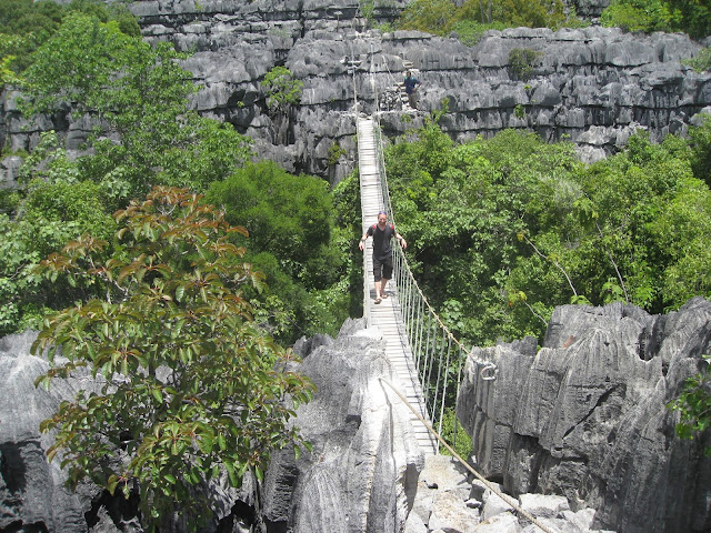 suspension bridge in the tsingy in Ankarana National Park