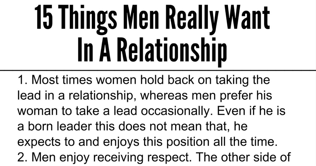 Awesome Quotes: 15 Things Men Really Want In A Relationship