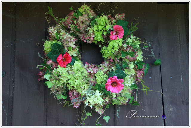 garland of hydrangea, autumn garland, wianek z hortensji, jesienny wianek,  how tu make wreath of hydrangea