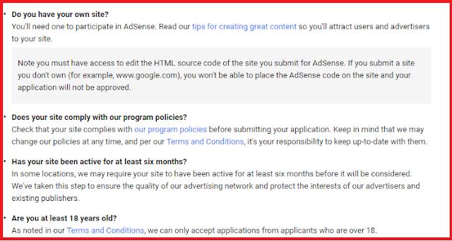 Google Adsense Eligibility Criteria