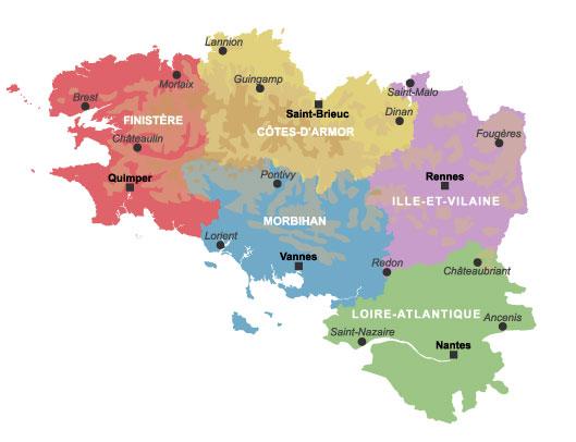 Carte de France Departement: Bretagne Carte Departement de la Ville