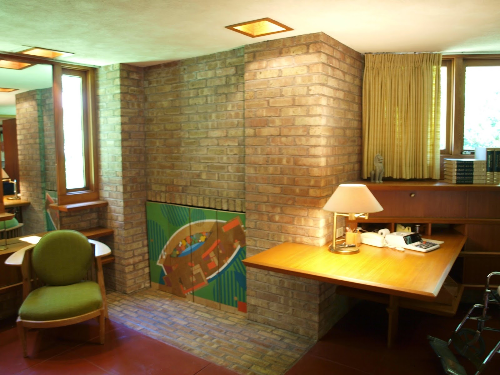 Painted screens in bedroom. Frank Lloyd Wright Laurent House designed for owner Kenneth Laurent on Spring Brook Road in Rockford/ Designed to be wheelchair-accessible. #flw #franklloydwrighthouse #midcenturymodernarchitecture